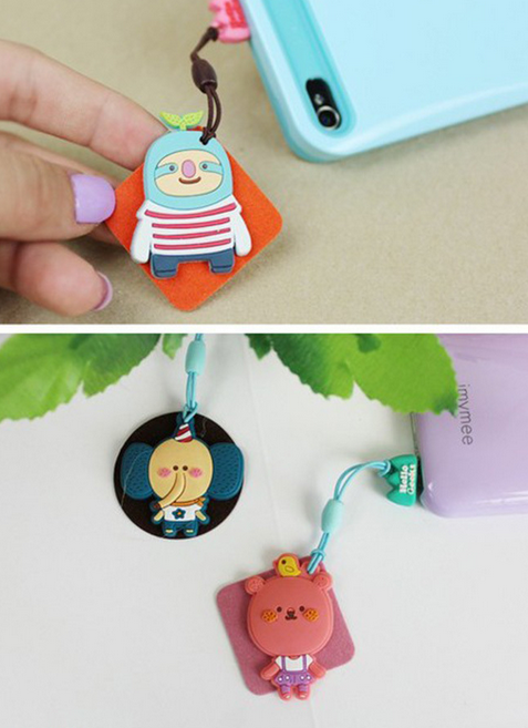 Nút cắm chống bụi  Factory direct sales Romanian mobile phone ornaments cartoon animal phone screen