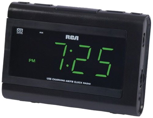 RCA Radio đôi đánh thức đồng hồ với sạc USB.