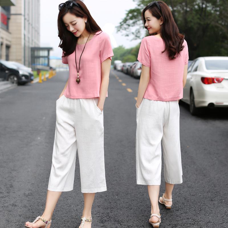 Cotton wide leg pants suit 2017 female summer new large size women tide fashion ladies leisure summe