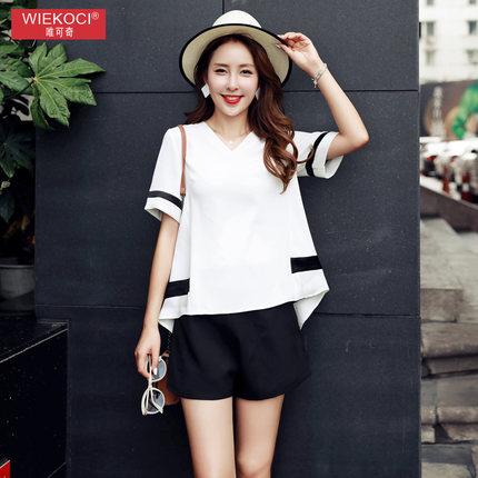 Suit fashion female 2017 summer new Korean chiffon shirt two piece suit women leisure suit female ti