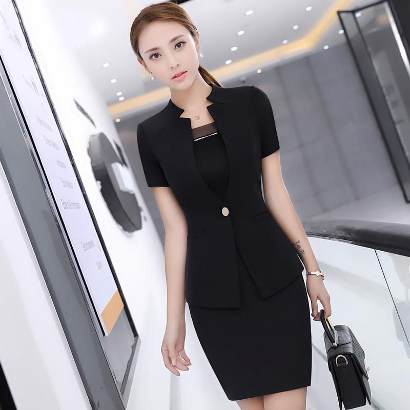 mới mùa hè tay ngắn OL bộ quần áo nữ lớn nhỏ mã bộ đồng phục làm việc chuyên nghiệp