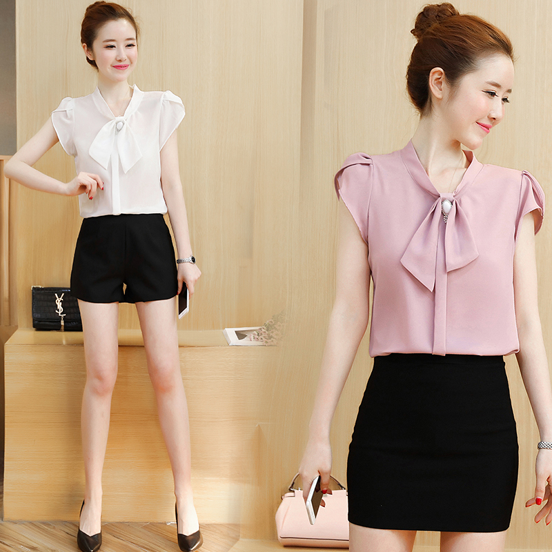 spring and summer new Korean style chiffon shirt short sleeved women's short sleeved half boot