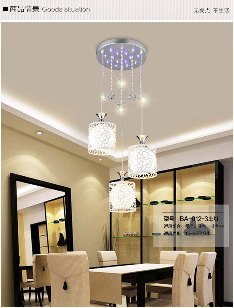 Bữa ăn ba bữa ăn đầu đèn chùm đèn chùm pha Lê Văn phòng LED dây dọi đèn sáng tạo trổ hoa omicron quầ