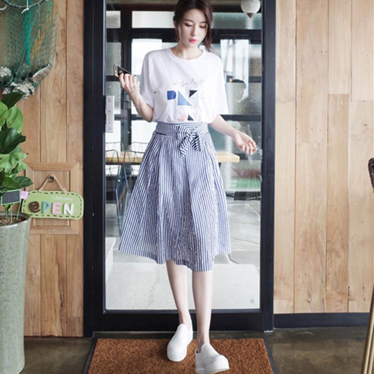 Summer 2017 sets of new women's casual dress skirt set of the Korean version of the short sleeved c