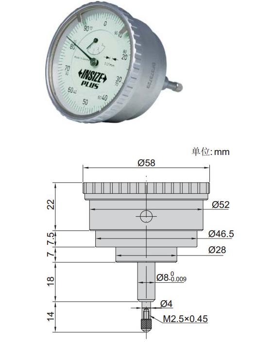 INSIZE / Anh chỉ loại thể hiện hết bề mặt đo quay quay 2893-3 chống bụi và chống thấm nước