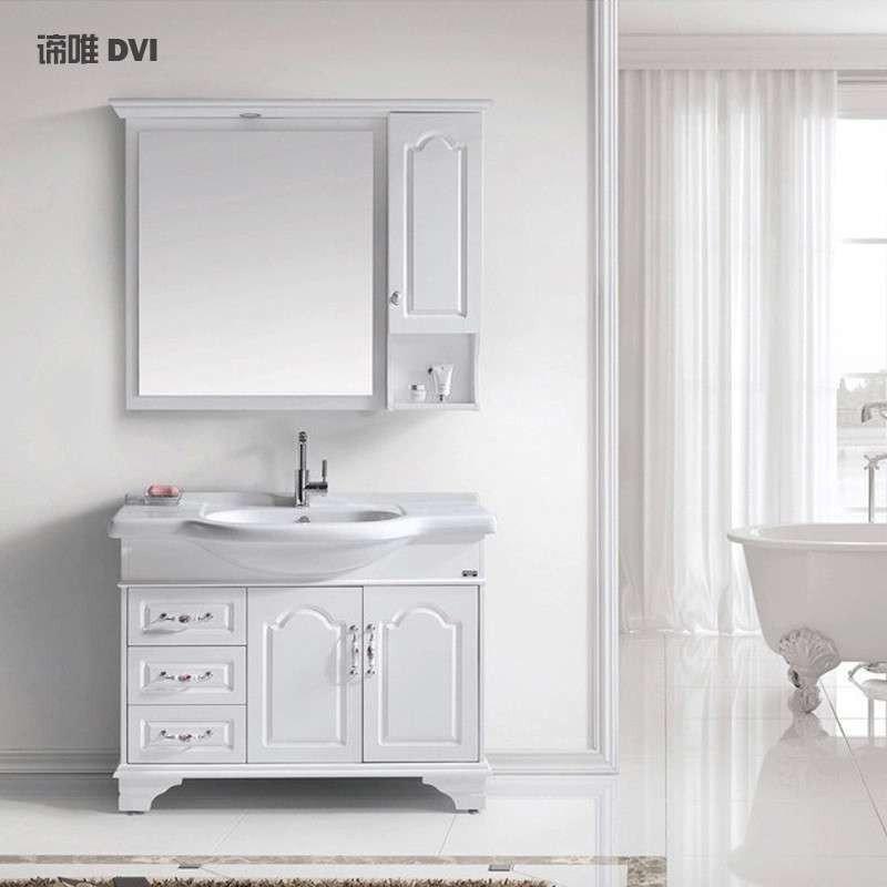 Tủ phòng tắm gỗ đặc phong cách châu Âu có kèm bồn rửa mặt 2302