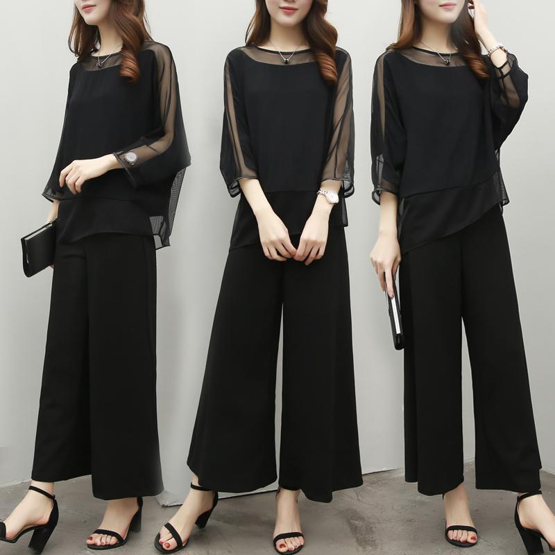 2017 mới quần áo thời trang trẻ trung hai mảnh quần áo rộng chân bộ phụ nữ mặc áo bông thủy triều