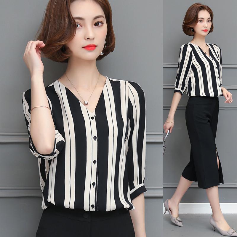 2017 mới mùa hè bán tụ quần áo nhỏ gầy dựng thời trang áo sọc rộng đáng kể mặc áo bông áo tay ngắn