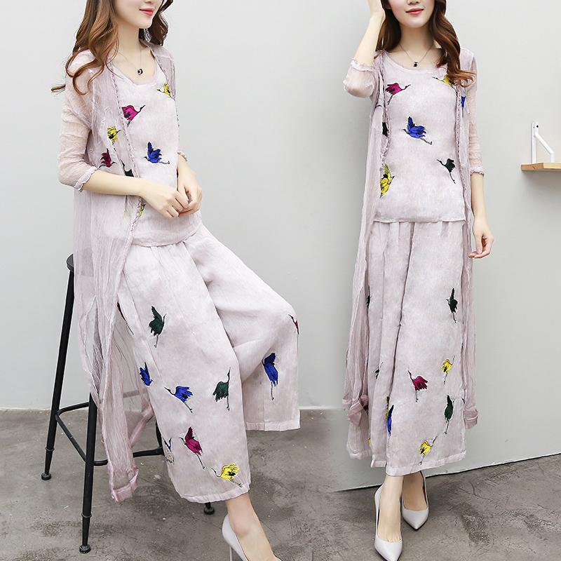 2017 quần áo thời trang mùa xuân mới mùa hè khí rộng quần chân mảnh quần áo thời trang nữ Triều Leis
