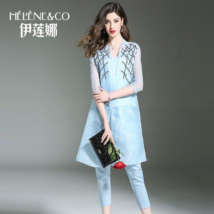 Irina 2017 mùa hè mới bộ quần áo khoác ba mảnh quần áo thời trang trẻ trung triều thêu thùa trang ph