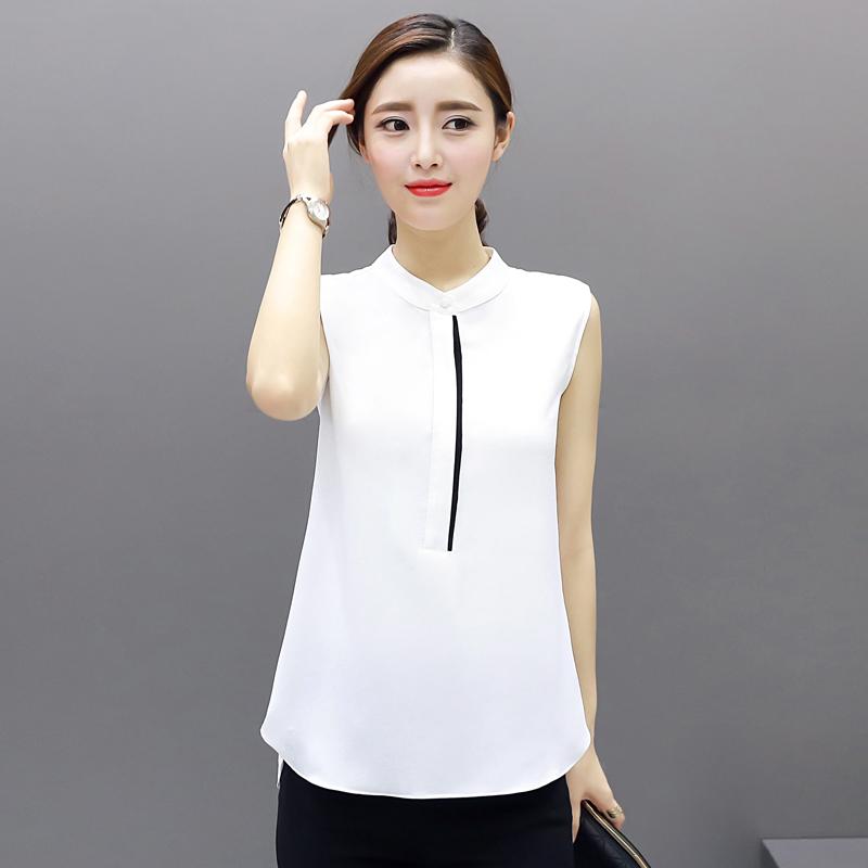 Mùa hè 2017 quần áo không tay nhiều phụ nữ mặc áo bông mặc áo sơ mi trắng, áo ngắn tay ngắn OL khí t
