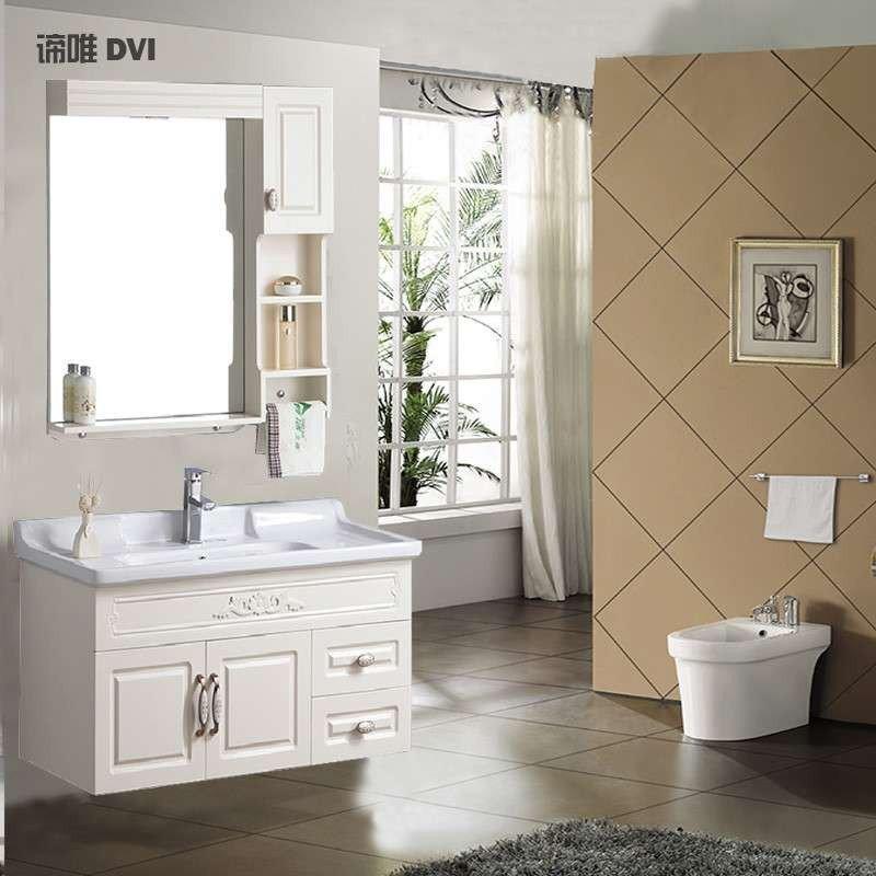 Tủ phòng tắm treo chạm khắc phong cách Âu Châu có bồn rửa mặt D018