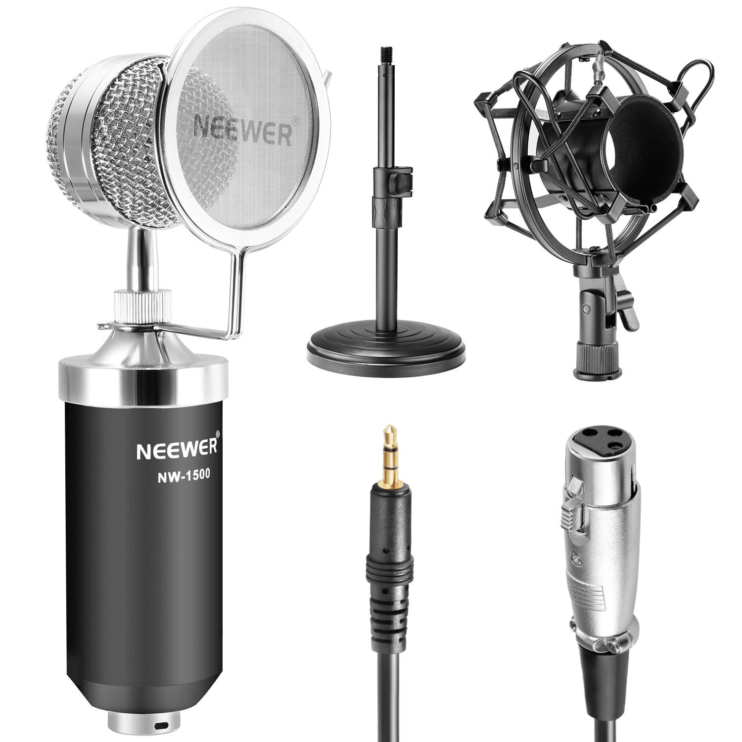 Neewer® (1)NW-1500 Professional Desktop Broadcast & Recording Condenser Microphone with Audio Cable+