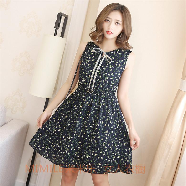 Original summer new Korean version of women's slim bow tied waist dress summer dress with a short s