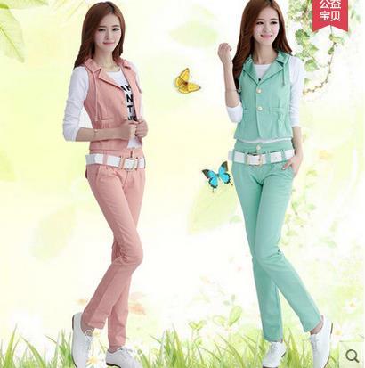 Bộ đồ nữ trang phục mùa xuân thời triều 2017 mới Leisure khí hiển gầy vest ba mảnh quần áo mùa hè.