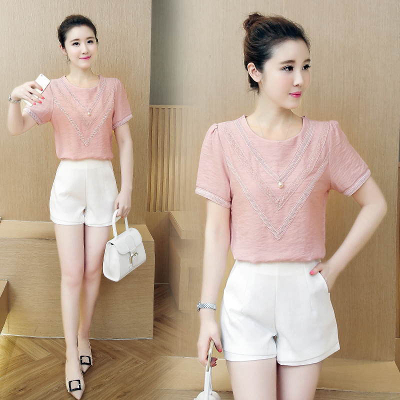 2017 new summer fashion V Collar Chiffon Shirt Short Sleeved loose thin cotton blouse stitching fema