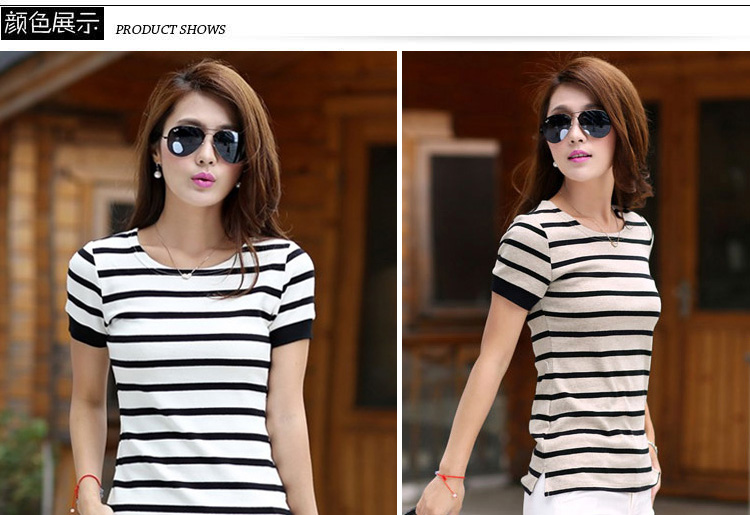 Cotton Striped short sleeved T-shirt girl 2017 new summer dress size half sleeve clothes all-match s