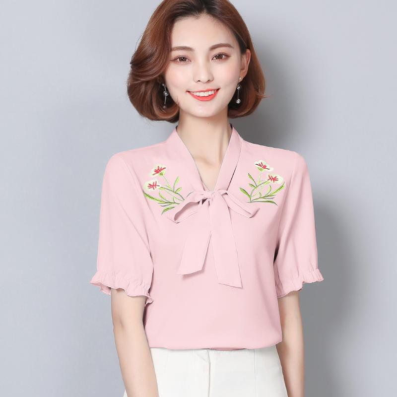 2017 mã lớn quần áo trang phục hè mới mặc áo bông áo tay ngắn màu đặc nơ áo sơ mi nữ Triều