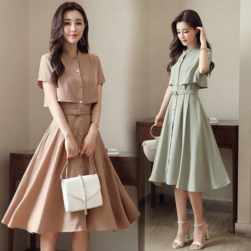 Children with A short sleeved summer dress cotton false two suit dress 2017 summer new Korean versio