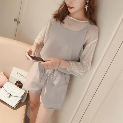 2017 small fragrant Summer Dress Chiffon shirt three piece set loose vest high waisted shorts three