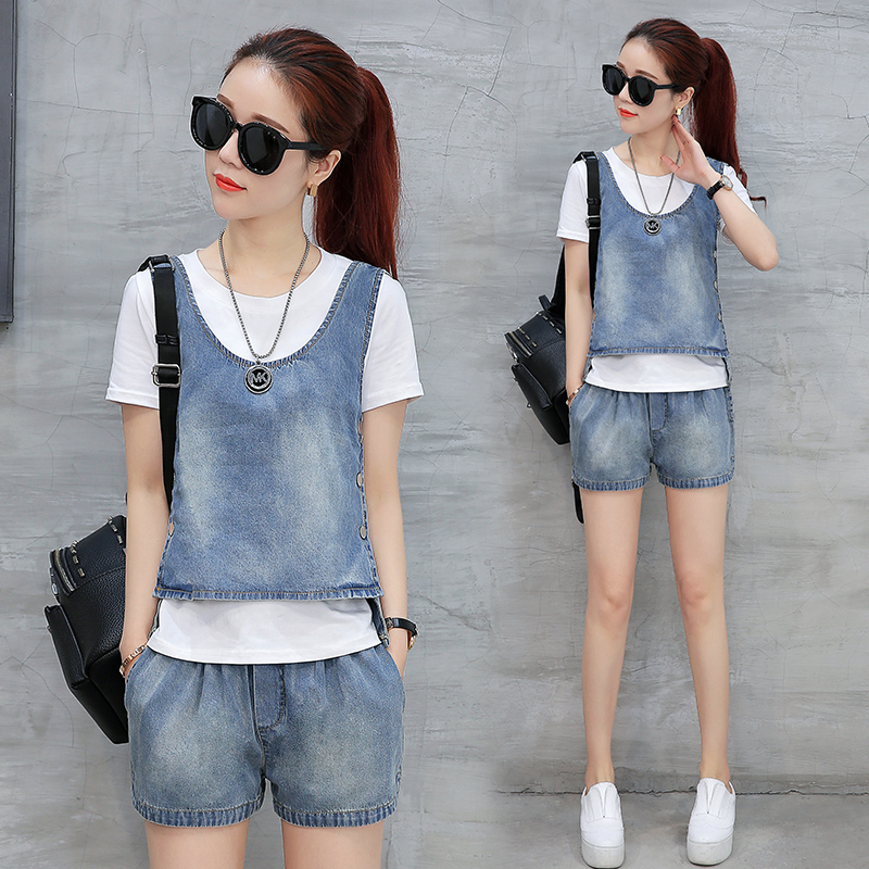 Personality two suit female fashion summer 2017 new summer fashion show thin Korean T jeans three pi