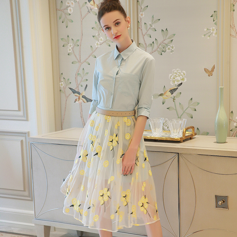 MIUCO ladies dress new spring and summer 2017 Lapel long shirt + heavy embroidery gauze skirt suit h