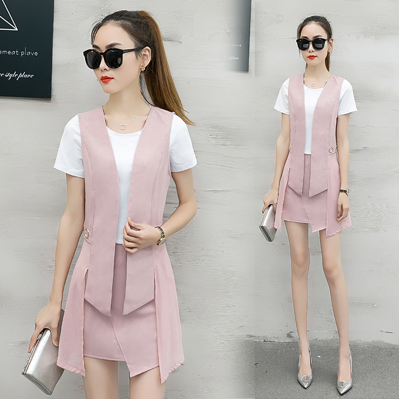 summer women's fashion three piece suit pants short sleeved T-shirt skirt suit ladies temp