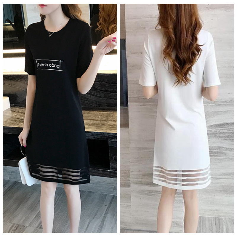 summer women's new college wind fresh small straight long T-Shirt Large code dress white tide