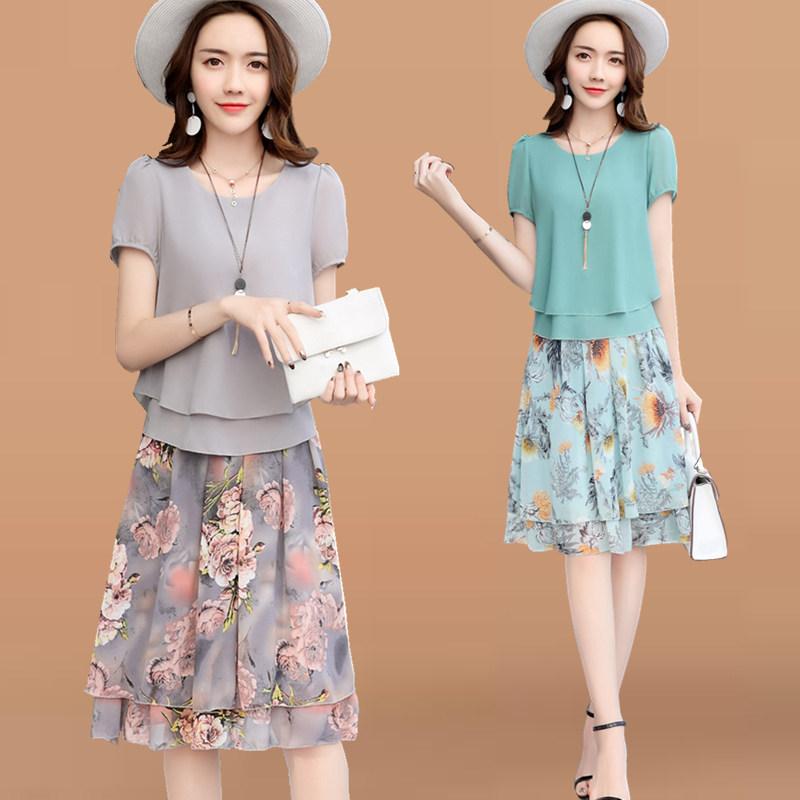 Váy    Mùa hè 2017 bộ đồ thời trang mới rộng rãi mặc áo bông Lụa áo dài nữ hai mảnh váy.