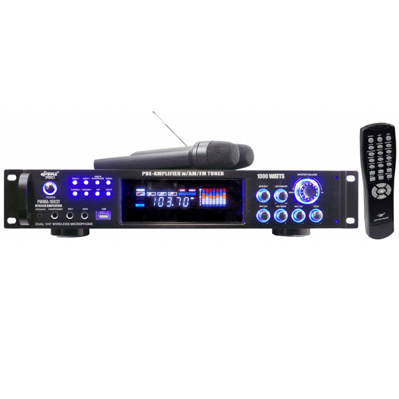Amplificador karaoke 1000W/FM/IPOD/MP3/USB/MD/2 micros