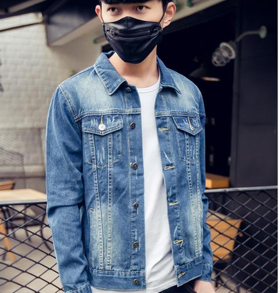 Men's jacket Korean Slim casual student teen denim jacket hole retro spring thin shirt tide