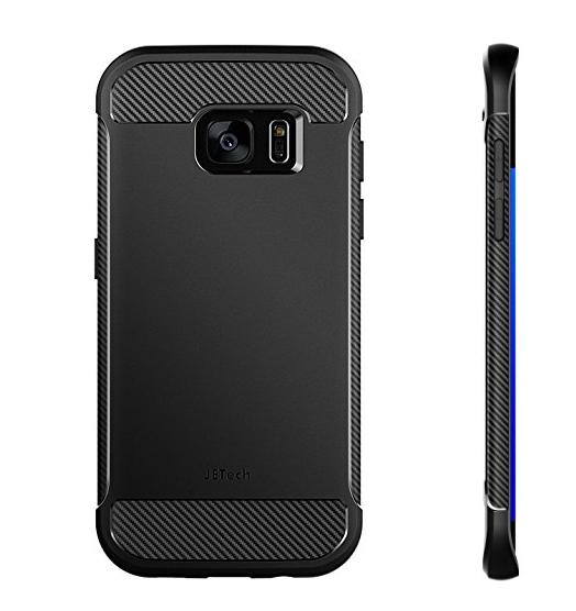 bao da điện thoại  Mỹ JETech Samsung S7 Edge điện thoại vỏ bảo vệ hệ sợi carbon kết cấu thiết kế hệ