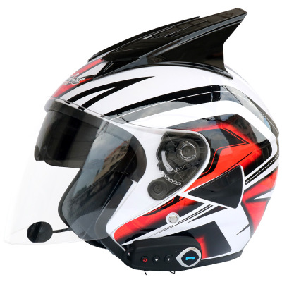 Dual lens Bluetooth helmet motorcycle Bluetooth helmet stereo sound comes with FM summer helmet with