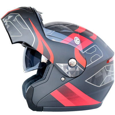 Motorcycle helmet full face helmet double lens exposed helmet men and women four seasons winter wind