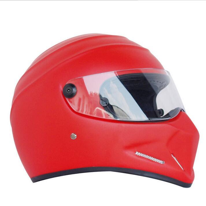 Motorcycle Helmets Helmets Winter Warm Kart Racing Fiberglass Bluetooth Helmet ATV-4 Matte Red