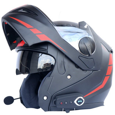 Anti-fog dual lens Bluetooth helmet motorcycle bluetooth helmet stereo sound comes with FM helmet