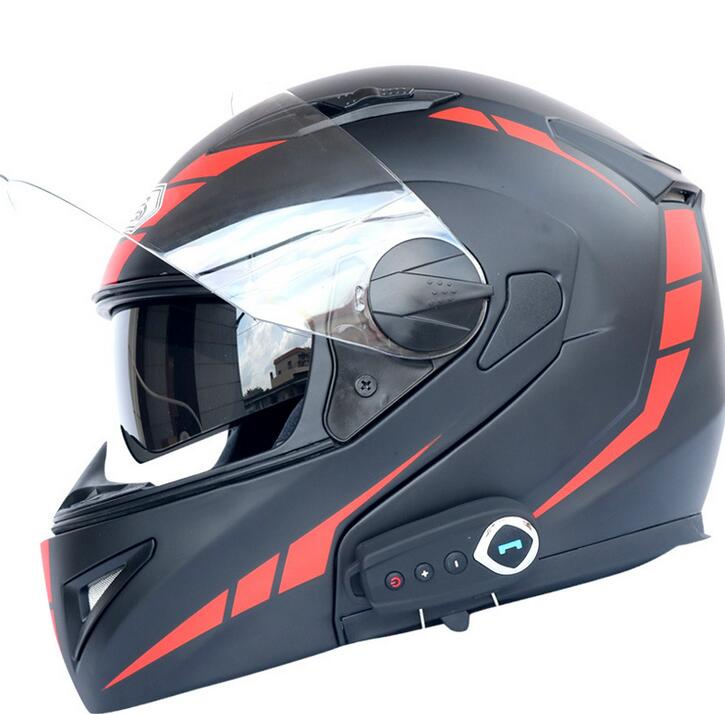 Factory direct dual-lens Bluetooth helmet motorcycle bluetooth helmet stereo sound comes with FM hel