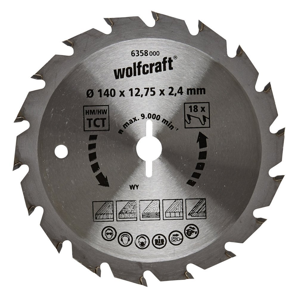 Wolfcraft 6358000 140 X 12.75 X - 2.4 mm CT Saw BLADE with 18 răng – Green series