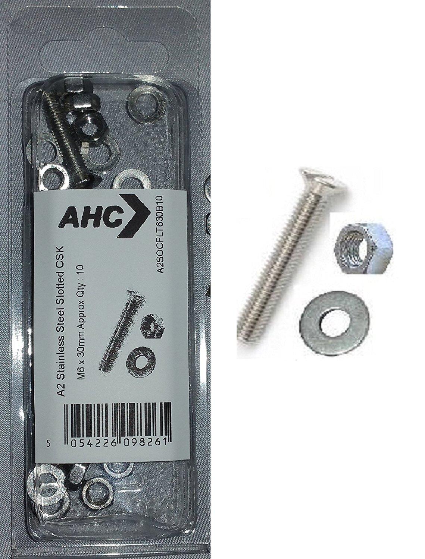 AHC a2sltcsk680b5 M6 x 80 mm thép không gỉ khóa chặt Machine bao gồm đai ốc vít và vòng đệm (blister