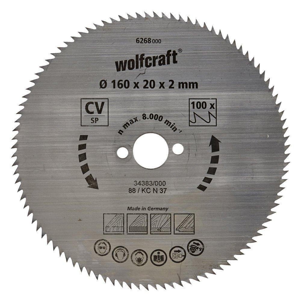 Wolfcraft 6268000 1.6 x 20 x 2 mm Chọn cổng để kết nối và o with 100 – SAW BLADE răng xan