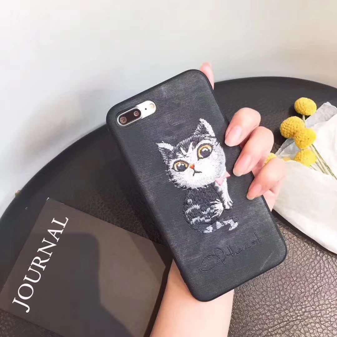 trường hợp iPhone Thêu mèo dễ thương mèo con Apple 6s vỏ điện thoại di động iphone7plus / 6P phủ mat