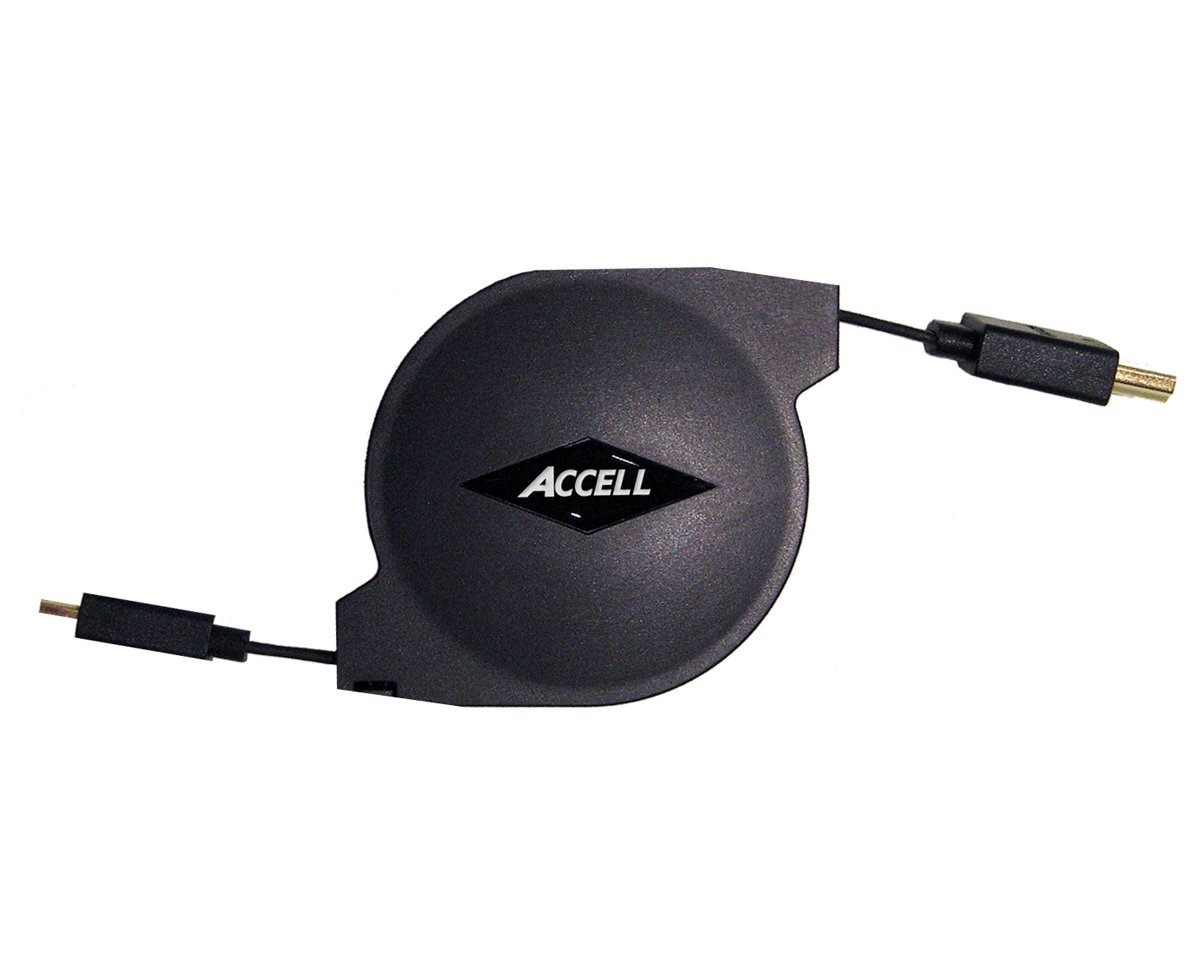 Accell A158B-005B Retractable Mini HDMI (C) to HDMI (A) High Speed Cable with Ethernet, 5ft/1.5m
