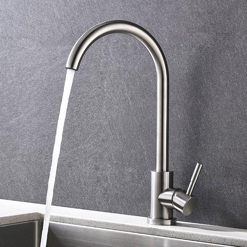 Họ KEGOO rắn K02012 bếp bồn rửa sạch cái lỗ vòi nước nóng và lạnh rau chậu than chì có thể xoay vòi
