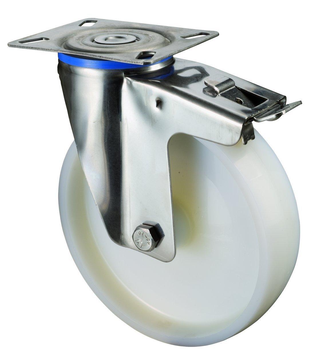 Vai trò định hướng dẫn feststeller BS thép không gỉ cuộn nhựa, anschraubplatte, bánh xe, 150 mm, h12