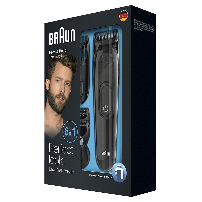 Braun Bolandoz 6 hợp 1 bộ đồ chức năng sửa tóc râu và lông sửa bộ phụ kiện có cắt lỗ mũi.