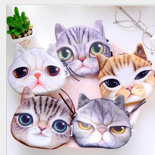 Túi xách cho trẻ em BW163 Vintage Harajuku mèo, mèo. Mèo đầu ví tiền mặt bằng không thẻ gói gói