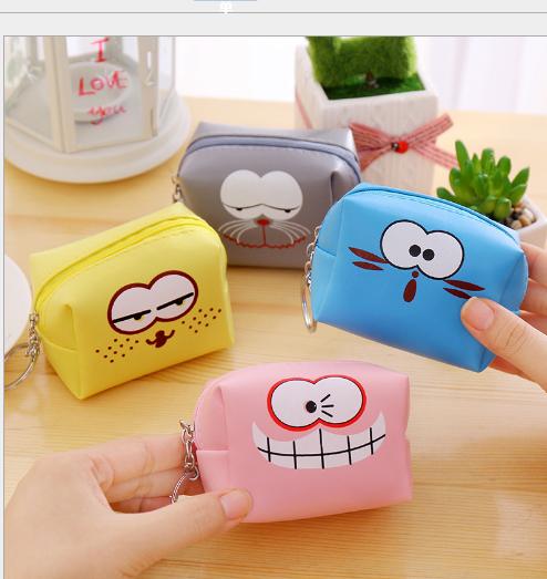 Túi xách cho trẻ em Ví đồng xu nhỏ mới, trẻ em PU hoạt hình hộp mặt gói túi tiền xu mang chìa khóa