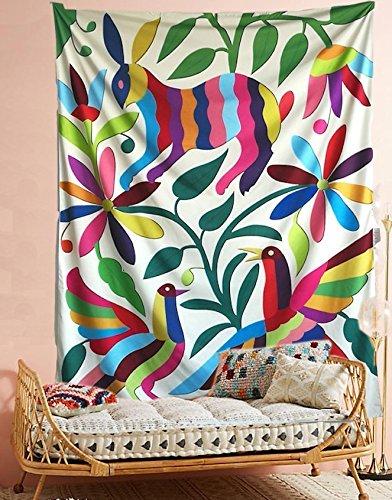 flber Otomi Mexico những tấm thảm treo tường gấm vóc thỏ màu vải trang trí nhà cửa. Giấy dán tường r