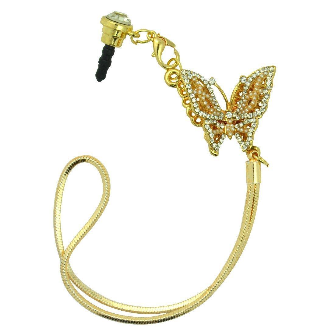 mạ điện ba chiều Ngọc bướm mặt dây chuyền kim loại tai nghe nhét điện thoại chống bụi Iphone4/Ipad/I