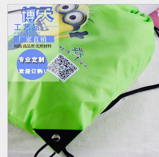 Túi vải nhung Nhà sản xuất 210D túi vải không thấm hút làm quà tặng bó dây đeo cả hai dây túi vải nh